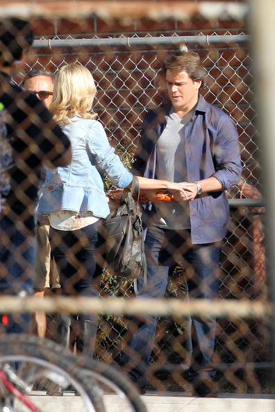 "Matt Damon holds onto a platter of what looks like lasagna and speaks to a co-star during a scene for Cameron Crowe's upcoming film ""We Bought A Zoo."" The actor was spotted earlier reviewing scenes with Crowe."