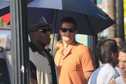 "Michael Clarke Duncan and Geoff Stults film scenes for ""The Locator"" in South Beach. The show is a spinoff of the hit Fox show ""Bones""."