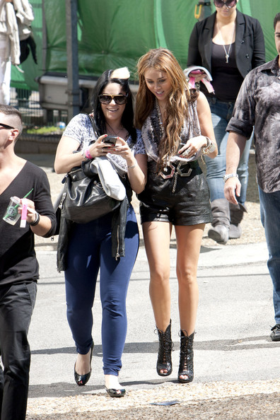 "Miley Cyrus Miley Cyrus dons some on-trend leather shorts as she heads into north London's Fountain Studios prior to her live performance on tonight's fourth semi-final of ""Britain's Got Talent"". The 17-year-old will be performing hder new single ""Can't Be Tamed"" on the show infront of Simon Cowell, Piers Morgan and Amaada Holden."