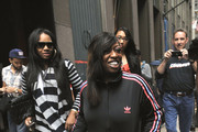 Missy Elliott gives a smile as she makes her way into the Sirius XM studios in New York City.