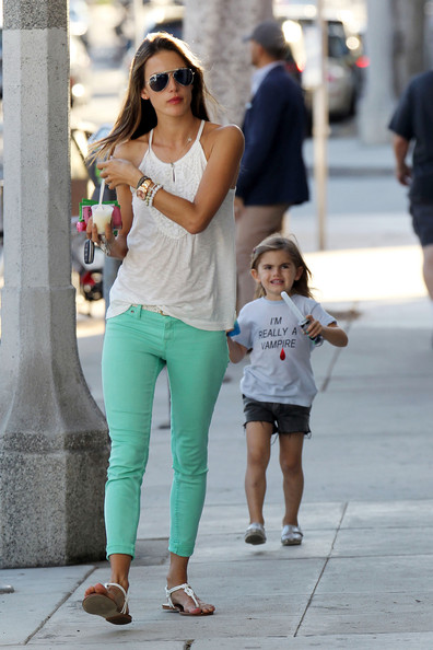 "Victoria's Secret model Alessandra Ambrosio treats daughter Anja to some gelato in Santa Monica, CA. Obviously excited for Halloween, little Anja sported a t shirt reading ""I'm Really A Vampire""."