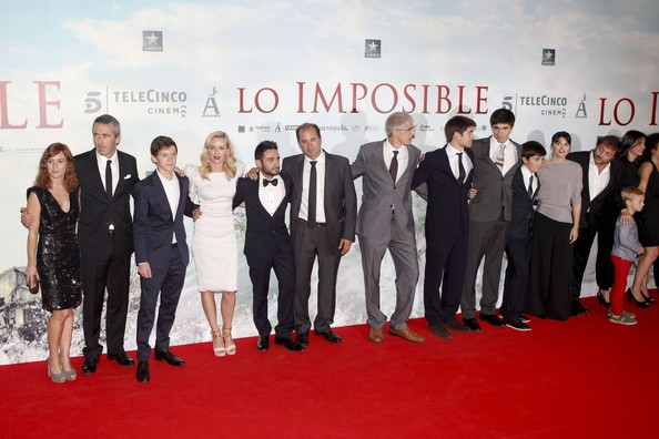 "Naomi Watts, Tom Holland and Juan Antonio Bayona at ""The Impossible"" premiere at Kinepolis cinema in Madrid."