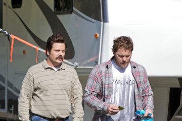 Nick Offerman Aziz Ansar seen getting ready to film scenes for NBC's 'Parks and Recreation'