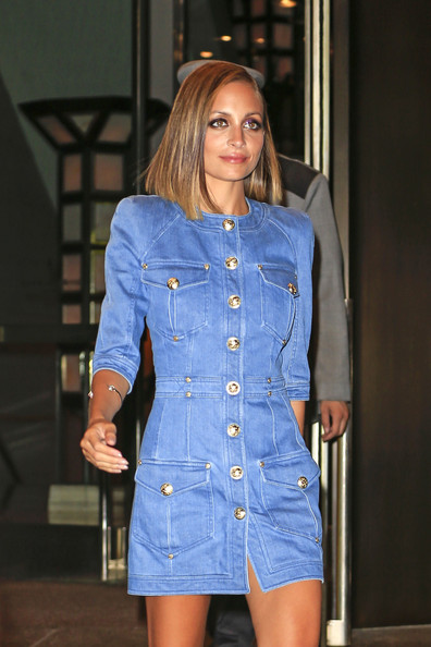 Nicole Richie - Nicole Richie seen wearing a denim dress outside her hotel after attending the Style Awards in New York City