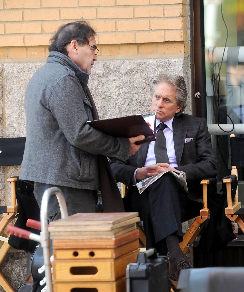 "Oliver Stone and Michael Douglas on the Set of ""Wall ..."