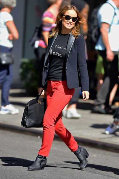 Olivia Wilde wears red jeans as she ventures out for a stroll in New York City. The 'In Time' actress, who made an appearance on MSNBC's 'Morning Joe' this morning, wore a sweater from Je T'aime Jane as she walked around.