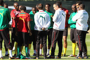 Paul Le Guen, French coach of Cameroon, watches over the team practice, held at Northlands School in Umhlanga, Durban North.