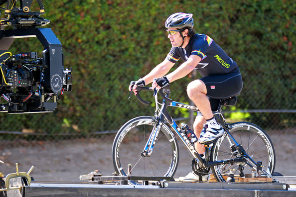 "Paul Rudd films a cycling scene for the upcoming Judd Apatow comedy ""This is Forty."" The film also stars Megan Fox and Judd Apatow's wife Leslie Mann and serves as a spin-off of the hit comedy ""Knocked Up."