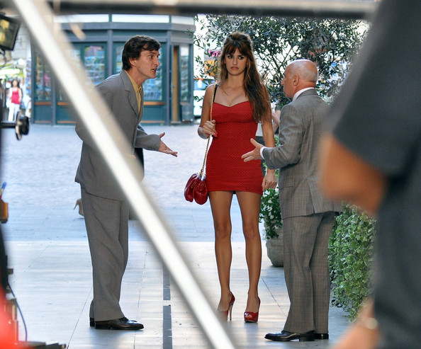 "Penelope Cruz looking flawless in a figure hugging Dolce and Gabbana mini dress, as she films scenes from Woody Allen's new film, ""The Bop Decameron"" in Rome. The statuesque star gave birth to son Leo only 6 months ago - who is on set with her in Italy."