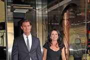 Jeff Lewis and Jenni Pulos leaving the Bravo Upfront 2012, held at Center 548, in New York City.