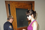 Playboy Playmate Claire Sinclair heads to the Pasadena Police Department to get a restraining order against Hugh Hefner's son Marston Hefner. Sinclair appeared to have some bruises on her arms as she arrived at the police department. Marston allegedly beat the Playmate up after a heated argument.