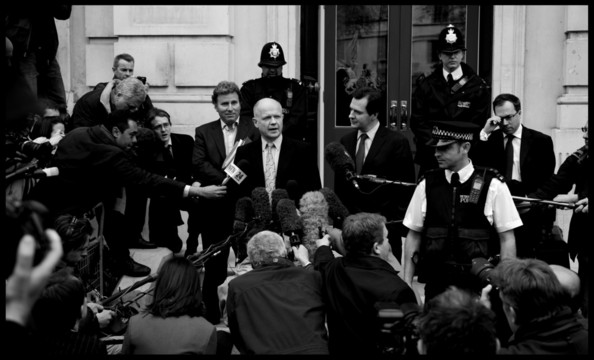 William Hague and George Osborne leave the Cabinet office after talks with the Liberal Democrats on forming a coalition government