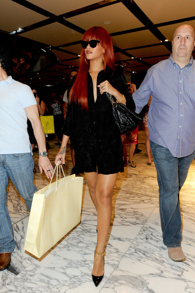 Rihanna spends an afternoon shopping at Sydney's Westfield city store browsing in lingerie stores and in the Louis Vuitton shop.