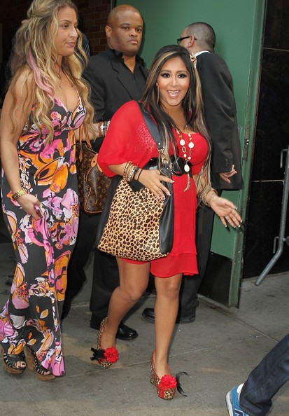 Pregnant Snooki from hit reality TV show 'Jersey Shore' makes an appearance on 'Good Morning America' in New York City.