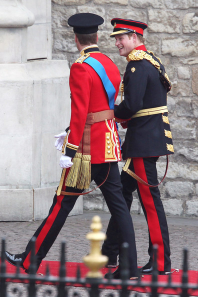 Prince William arriving at Westminster Abbey with his brother Prince Harry