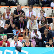 Prince Felix Former British Prime Minister John Major and wife Norma Major seen enjoying the swimming finals at the Aquatic Centre in the Olympic Park, London