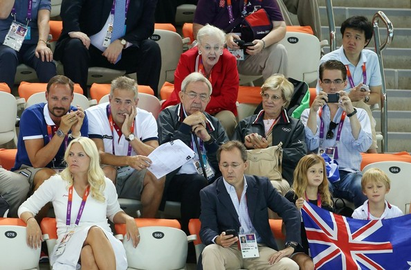 Queen Margrethe of Denmark, King Constantine of Greece, Queen Anne-Marie of Greece and Prince Philippos of Greece watch the swimming competition at the Aquatics Center of the Olympic Park. Summer Olympic Games 2012 in London.