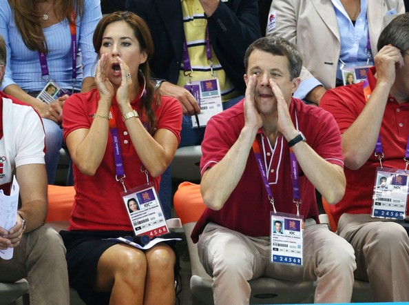 Prince Frederik of Denmark and wife Princess Mary of Denmark watch the swimming competition at the Aquatics Center of the Olympic Park. Summer Olympic Games 2012 in London.