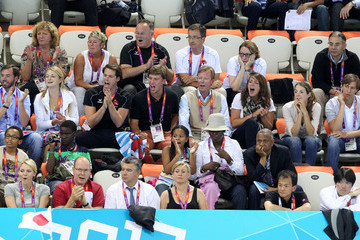 Prince Sebastien Former British Prime Minister John Major and wife Norma Major seen enjoying the swimming finals at the Aquatic Centre in the Olympic Park, London
