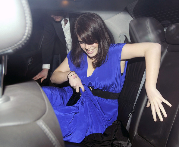 princess beatrice and princess eugenie. Princess Eugenie is picked up