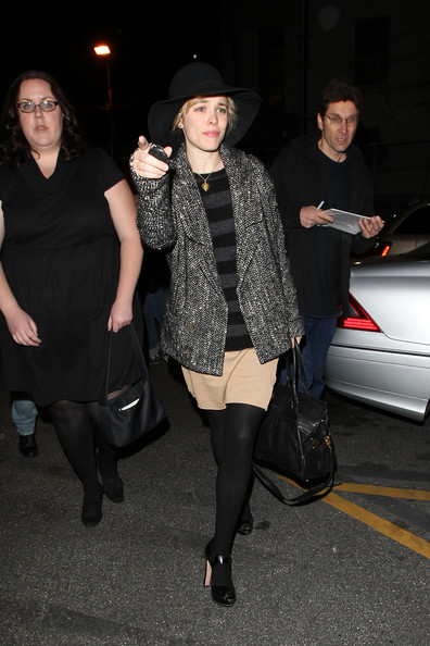 Rachel McAdams attracts autograph hunters as she exits the Pantages Theatre in LA.