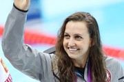 Rebecca Soni of USA wins the gold medal in the 200m breaststroke while Satomi Suzuki of Japan gets the silver medal and Iuliia Efimova of Russia takes home the bronze medal at the swimming finals at the Aquatics Centre in the Olympic Park as part of the Summer Olympic Games 2012 in London.