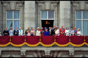 The Royal Family participates in the annual tradition of Trooping the Colour, also known as 'The Queen's Birthday Parade,' in London. The Queen was joined by other members of the royal family, including a very pregnant Kate Middleton.