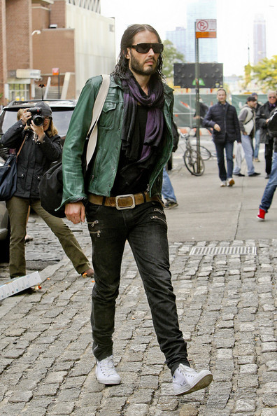 Russell Brand sports wet hair as he walks home after working out at the gym in NYC.