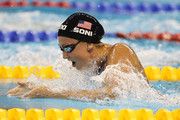 Rebecca Soni of USA wins the gold medal in the 100m breaststroke final at the 14th FINA Swimming World Championships in Shanghai, China.