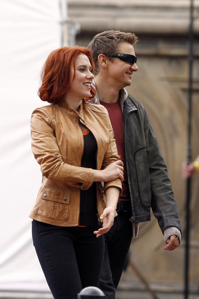 "Scarlett Johansson chats with Jeremy Renner on the set of ""The Avengers"" in New York's Central Park."