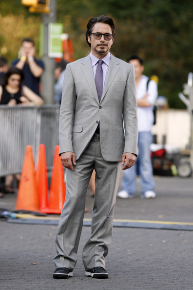 "Robert Downey Jr. wears a dapper grey suit on the set of ""The Avengers"" in New York's Central Park."