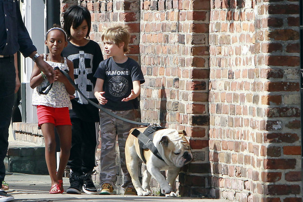 Three of Angelina Jolie and Brad Pitt's 6 children Zahara, Maddox and Shiloh take a walk to the market for snacks with their nanny.  Along the way Maddox walked a friendly looking dog, tomboy Shiloh showed off her punk spirit in a Ramones shirt and Zahara clung close to her sister.