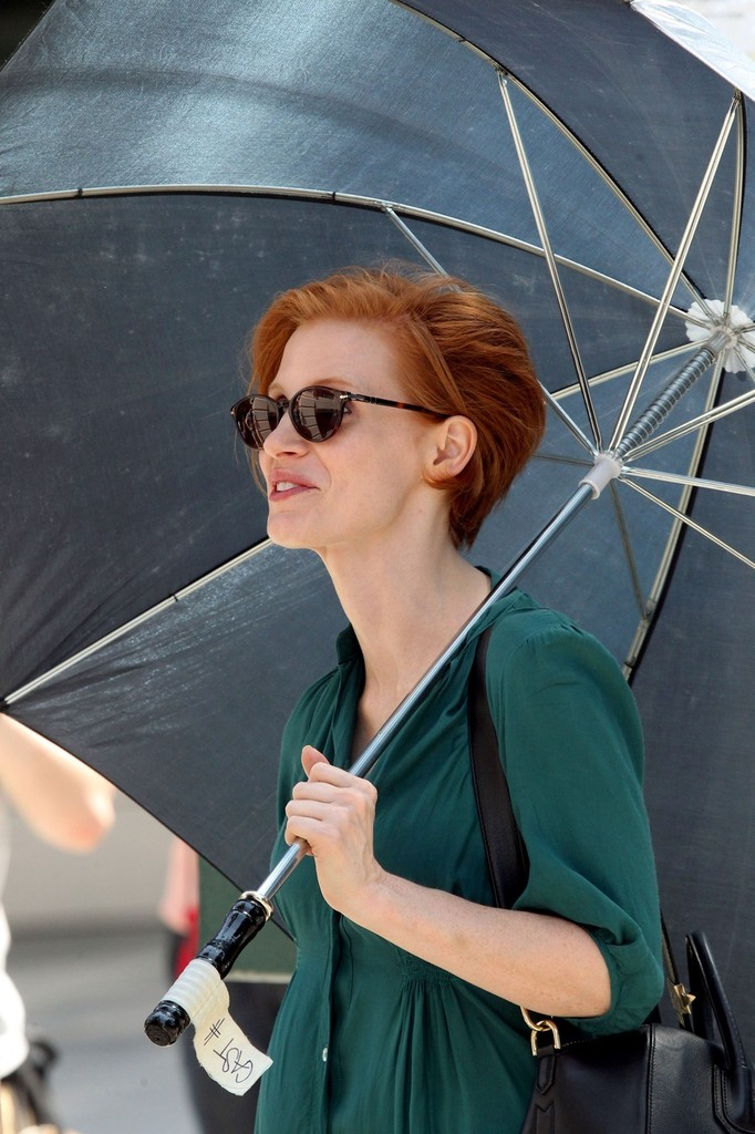 Jessica Chastain Jessica Chastain Photos Short Haired Jessica Chastain Rocks An Aqua Colored Dress As She Spends A Full Day Filming Scenes For Her New Film The Disappearance Of Eleanor