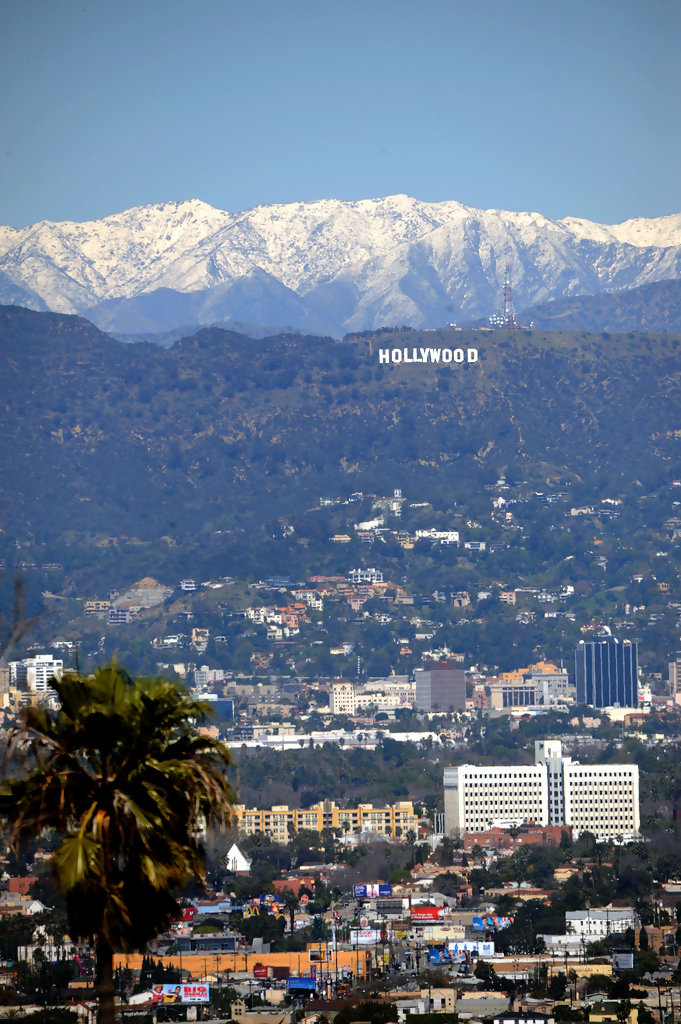 Snow Appears on Mountains Behind the Hollywood Sign 3 of 8 ...