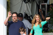 Sofia Vergara, Emjay Anthony, Jon Favreau, and John Leguizama film scenes for 'Chef' in Miami on August 12, 2013.