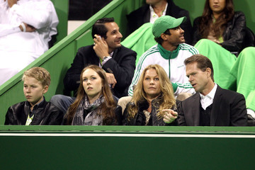 Annette Edberg Stefan Edberg, wife Annette, son Christopher and daughter Emilie attend the Qatar Open final