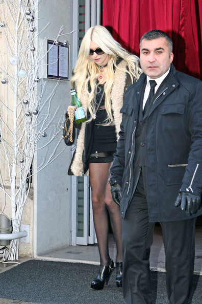 Taylor Momsen A skinny looking Taylor Momsen, wearing a dress held together by safety pins, leaves her hotel in Paris for a concert with her band, The Pretty Reckless.
