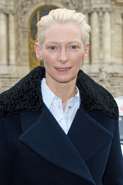 Tilda Swinton arriving for the Acne Studios fall-winter 2013/2014 Ready To Wear collection show held at the Grand Palais in Paris
