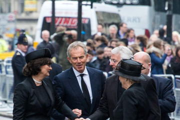 Tony Blair Norma Major Ceremonial Funeral Service for Margaret Thatcher 6