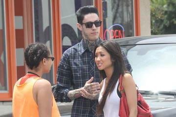 Trace Cyrus Brenda Song and Trace Cyrus Get Sushi in LA