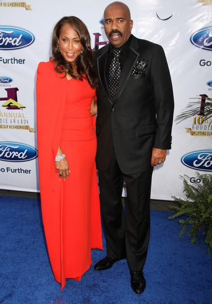 Steve Harvey and Marjorie Harvey seen arriving to the 10th Annual 2012 Hoodie Awards held at the MGM Grand Garden Arena, MGM Grand Hotel Las Vegas.