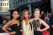Leigh-Anne Pinnock, Jade Thirlwall and Perrie Edwards of Little Mix attend the World Premiere of 'One Direction: This Is Us' at Empire Leicester Square in London.