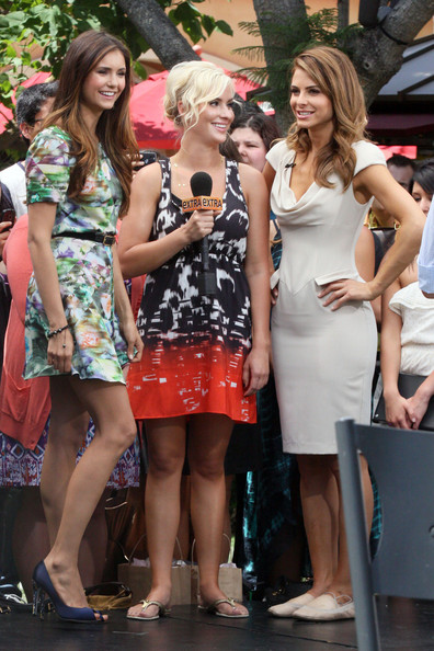 """""""Vampire Diaries"""" actress Nina Dobrev stops in for an appearance on """"Extra"""" at The Grove where she was interviewed by host Maria Menounos.  ."""