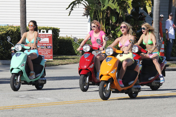 Actresses Vanessa Hudgens, Selena Gomez, Ashley Benson and Rachel Korine film in bikinis on Vespa scooters while filming 'Spring Breakers' in Florida.