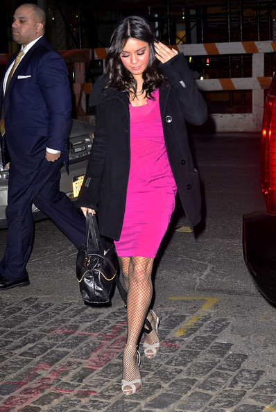 Vanessa Hudgens Vanessa Hudgens is pretty in pink as she arrives at the Jeffrey store for a day of retail therapy in New York City.