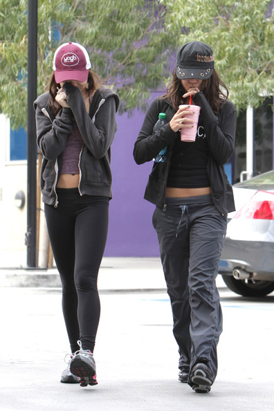 "Vanessa Hudgens Vanessa Hudgens and her sister Stella try to keep a low profile after working out at a gym in Studio City together. The ""Sucker Punch"" actress also spent the previous night with her 15-year-old sister, as the two were spotted taking in a Lakers basketball game at the Staples Center in Downtown Los Angeles. Hudgens wore a cap pulled low over her face with the words 'breakdown' written along the side."