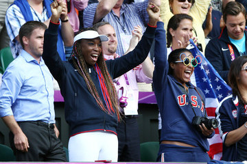 Venus Will American Serena Williams seen winning the gold medal by beating Maria Sharapova of Russia in straight sets in the women's tennis single's final held at Wimbledon Tennis Club at the 2012 London Olympic Games