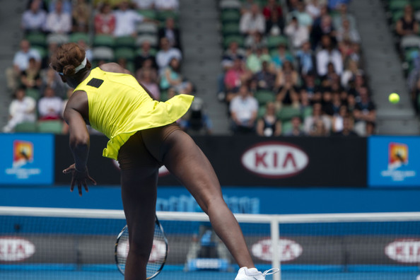 "January 26, 2010. Venus Williams (USA) plays against Na Li (CHI) during day 10 of the 2010 Australian Open at Melbourne Park in Melbourne, Australia. Venus caused quite the stir when she chose to wear flesh colored shorts underneath her dress during her match. Venus took to her twitter to say, ""I am wearing undershorts the same color as my skin, so it gives the slits in my dress the full effect""."