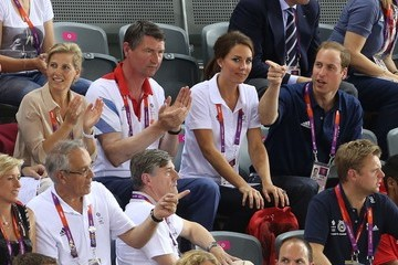 Vice Admiral Sir Timothy Laurence Catherine Duchess of Cambridge and Prince William cheer at the Olympics