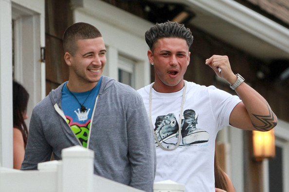 "Vinny Guadagnino The cast of MTV's ""Jersey Shore"" out and about in Seaside Heights while filming the 5th season of the popular reality show.  Here, Vinny Guadagnino and Paul ""DJ Pauly D"" DelVecchio."